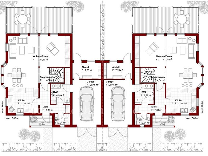 Doppelhaus malm 114 schwedenhaus for Doppelhaus grundriss modern