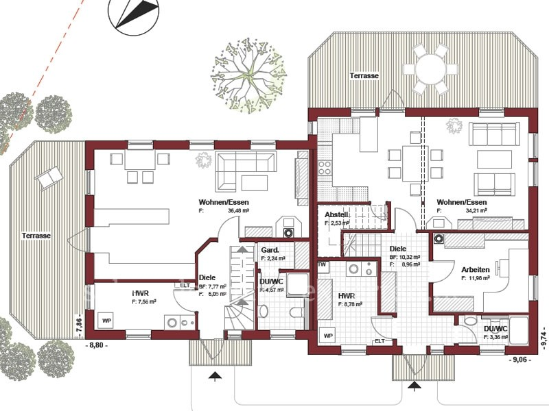 Schwedenhaus bungalow grundriss  Doppelhaus Sverige - Schwedenhaus
